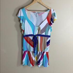 Ricrac short sleeve ruffle colorful T-shirt